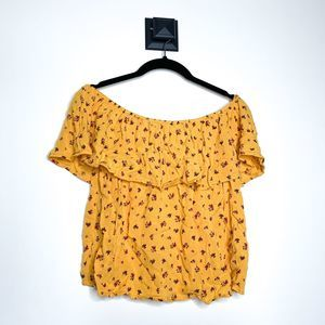 Hollister Floral Off the Shoulder Ruffle Top